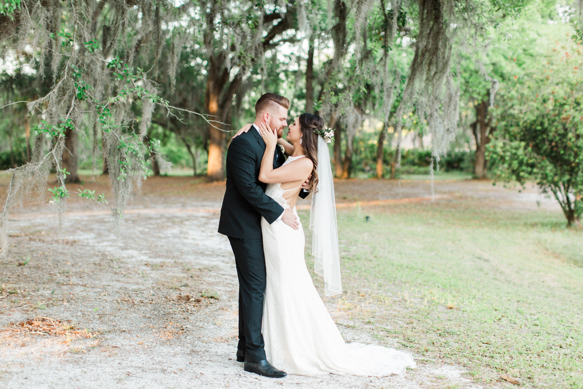 Lance and Meredith Whimsical Chandler Oaks Barn Wedding | St. Augustine, Florida-Bride and groom