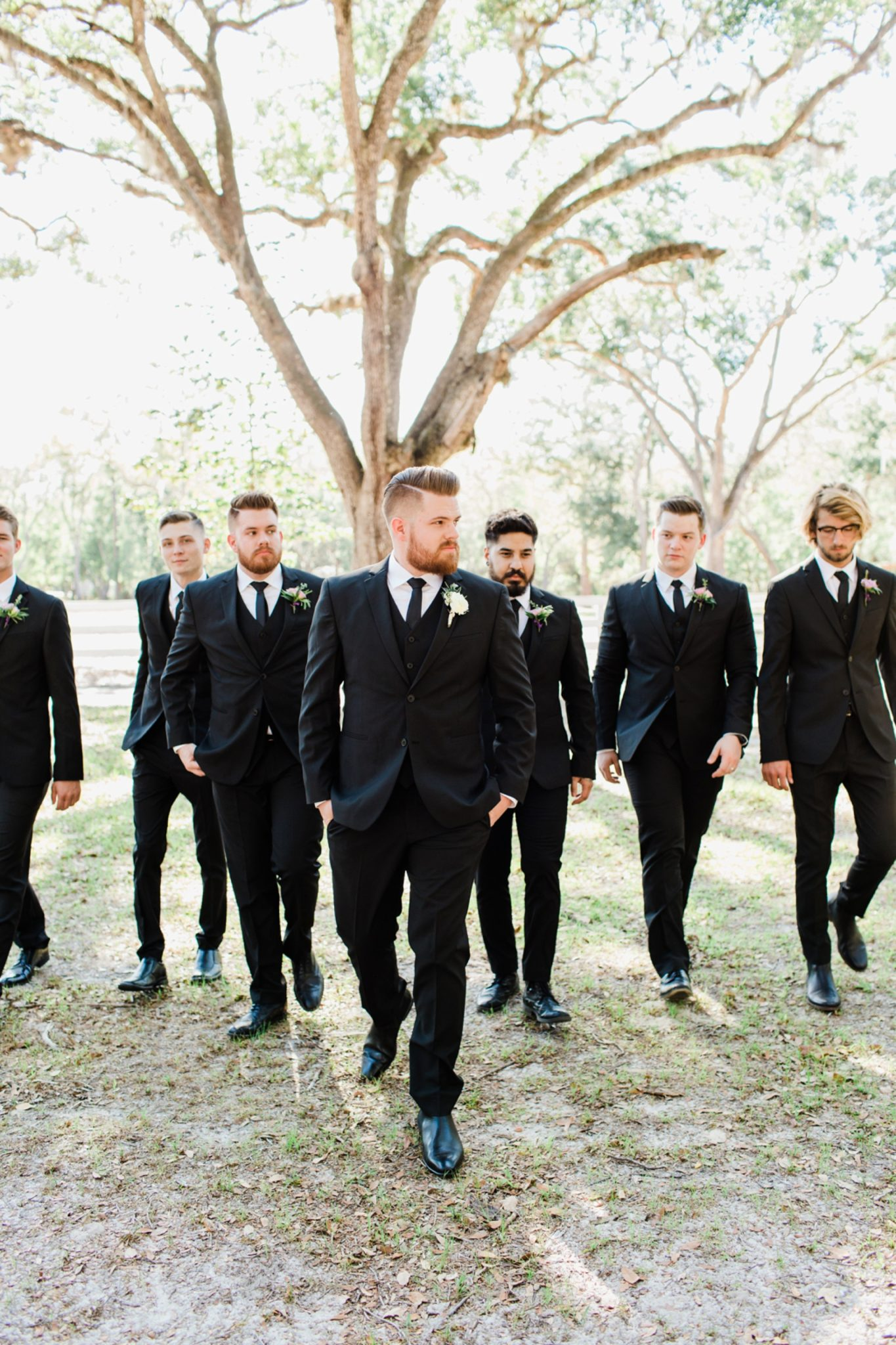 Lance and Meredith Whimsical Chandler Oaks Barn Wedding | St. Augustine, Florida-groom with groomsmen